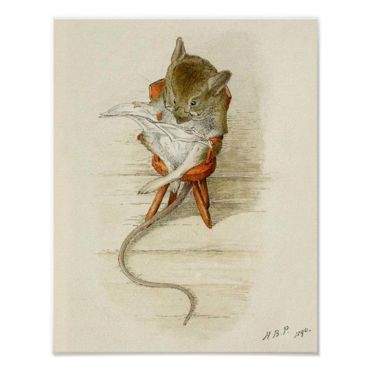 Grandfather Dormouse Reading Newspaper Poster