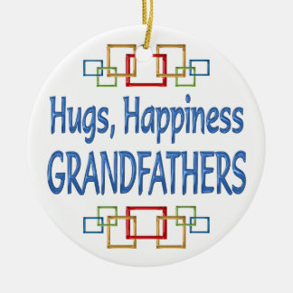 Grandfather Hugs Round Ceramic Decoration