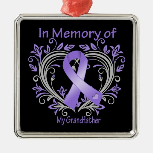 Grandfather - In Memory Heart Hodgkins Disease Christmas Tree Ornaments