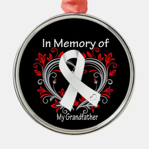Grandfather - In Memory Lung Cancer Heart Christmas Ornaments