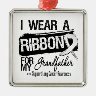 Grandfather Lung Cancer Ribbon Christmas Ornament