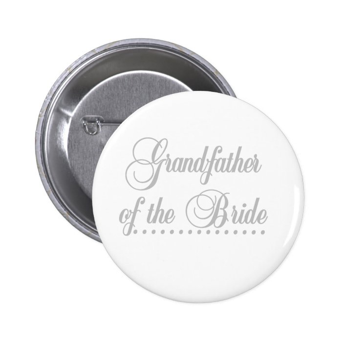 Grandfather of Bride Grey Elegance 6 Cm Round Badge