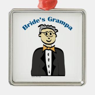 Grandfather of the Bride Silver-Colored Square Decoration