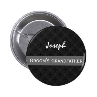 GRANDFATHER OF THE GROOM Wedding Black and White 6 Cm Round Badge