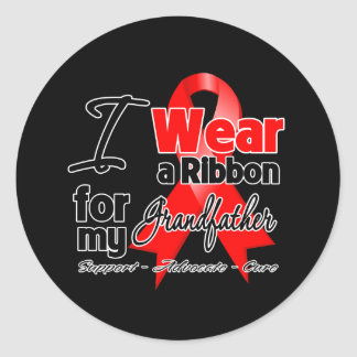 Grandfather - Red Ribbon Awareness Round Stickers