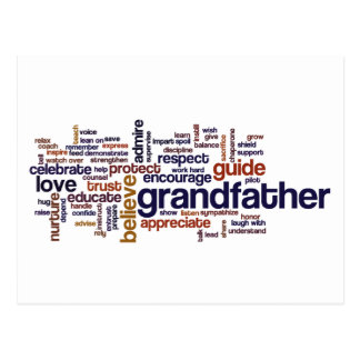 Grandfather Word Cloud Postcard