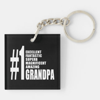 Grandfathers Birthdays : Number One Grandpa Double-Sided Square Acrylic Keychain