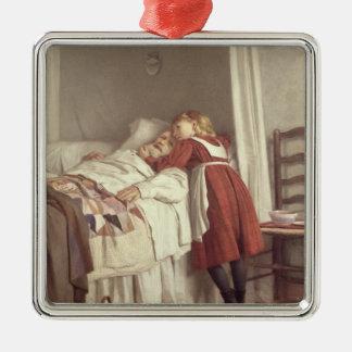 Grandfather's Little Nurse Silver-Colored Square Decoration