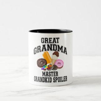 Grandkid Spoiler Great Grandma Two-Tone Coffee Mug