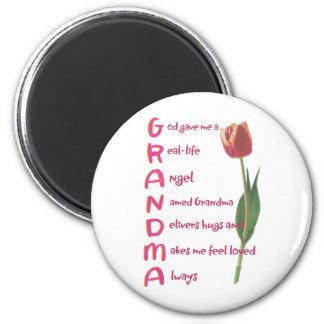 grandma 6 cm round magnet