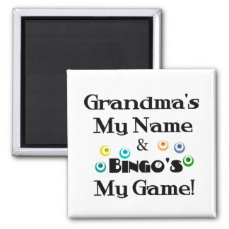 Grandma and Bingo Square Magnet