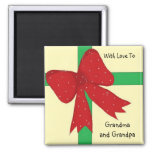 Grandma and Grandpa Bow Square Magnet