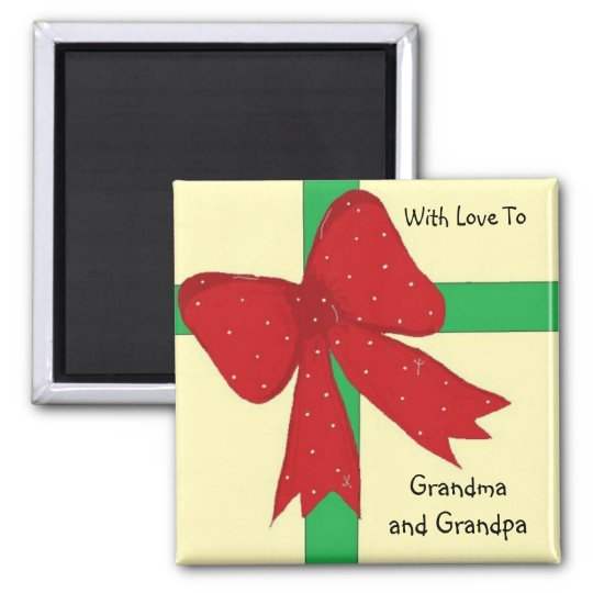 Grandma and Grandpa Bow Square Magnet