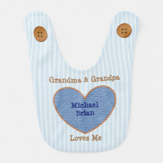 Grandma and Grandpa Loves Me Blue and Brown Bib