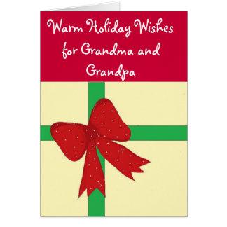 Grandma and Grandpa Red Bow Card