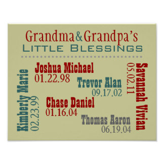 Grandma and Grandpa s Grandkids Names Birthdays Poster