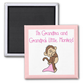 Grandma and Grandpa's Monkey - Pink Magnet