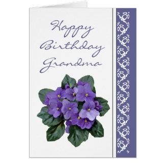 Grandma Birthday Poem African Violet Purple Flower Card
