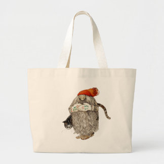 Grandma Christmas Tomten with Gray Cat Large Tote Bag