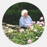 Grandma Cutting Roses Round Sticker