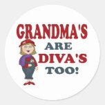 GRANDMA DIVA ROUND STICKERS