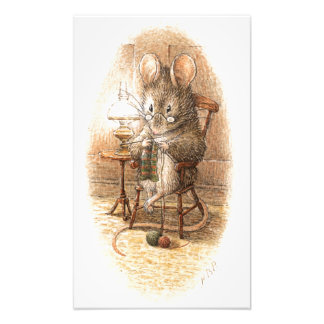 Grandma Dormouse Knitting on a Rocking Chair Photo Print