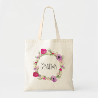 Grandma Floral Wreath Tote Mother's Day Gift