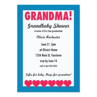 Grandma! Grandbaby Shower with hearts 13 Cm X 18 Cm Invitation Card