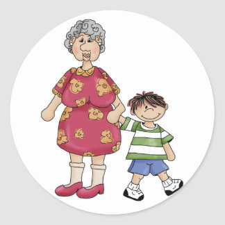 Grandma & Grandson (Grandparent Designs) Classic Round Sticker