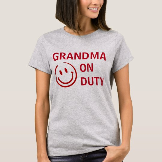 Grandma Happily On Duty Personalised Apparel T-Shirt