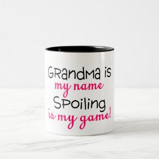 Grandma Is My Name Spoiling Is My Game Two-Tone Mug