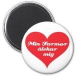 Grandma Loves Me Swedish 6 Cm Round Magnet