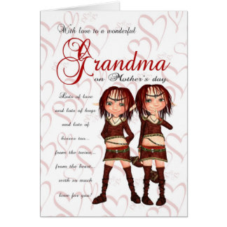 Grandma Mother's Day Card From Twins - Two Cute El
