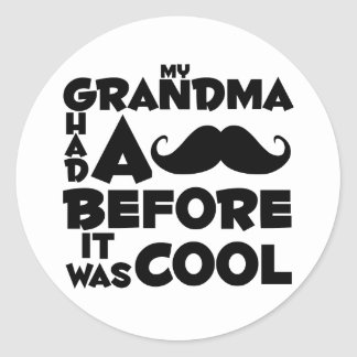 grandma mustache round sticker