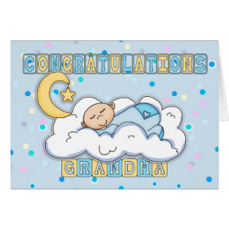 Grandma New Baby Boy Congratulations Card