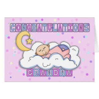 Grandma New Baby Girl Congratulations Card