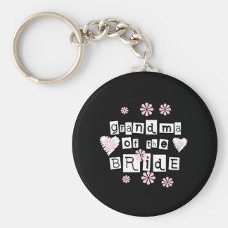 Grandma of Bride White on Black Key Chain