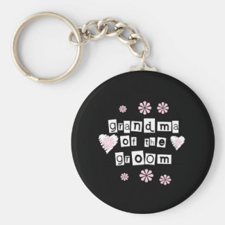 Grandma of Groom White on Black Key Chain