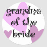 Grandma of the Bride Round Sticker