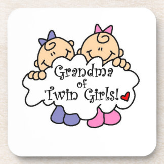 Grandma of Twin Girls Gifts Drink Coasters