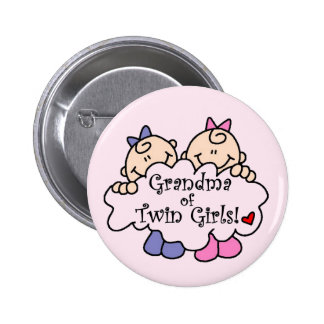 Grandma of Twin Girls Tshirts and Gifts Pin