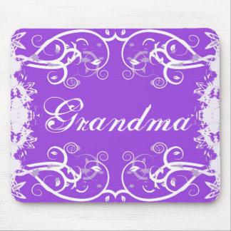 """Grandma"" on purple & white flourish design Mouse Pad"