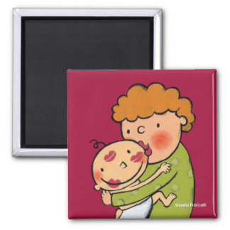 Grandma Pink Lipstick Kisses for Baby Square Magnet