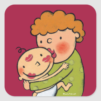 Grandma Pink Lipstick Kisses for Baby Square Sticker