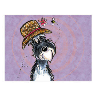 Grandma Schnauzer Flower Hat Off-Leash Art™ Postcard