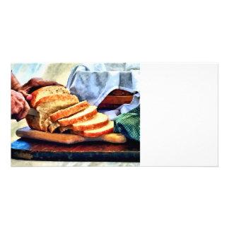 Grandma Slicing Bread Photo Cards
