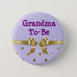 Grandma-To-Be Lavender and Gold Baby Shower Button