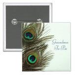 Grandma To Be Peacock Feather Pin