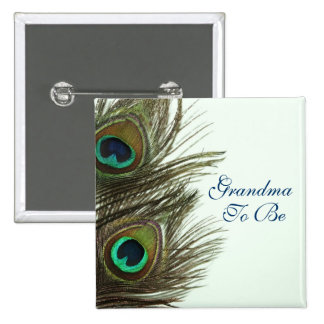 Grandma To Be Peacock Feather Pin