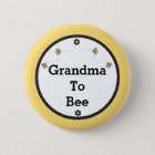 """Grandma To Bee"" Cute Bumble Bees and Honeycomb 6 Cm Round Badge"